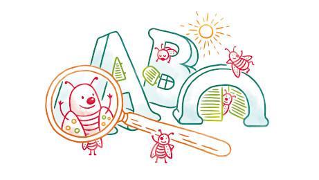 Biene hinter einer Lupe und die Buchstaben A, B, C unter einer Sonne